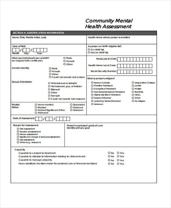 sample mental health assessment