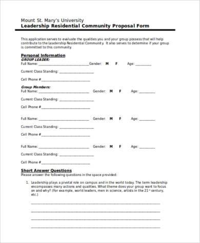 community proposal form in word format