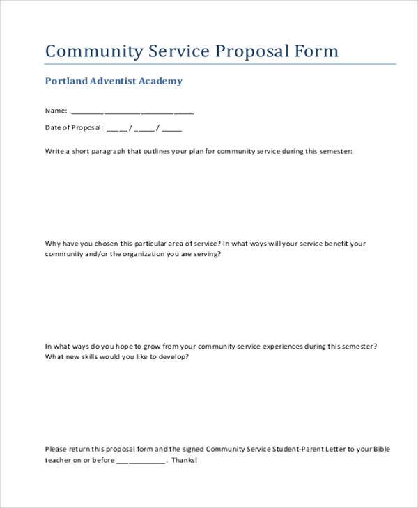Sample service proposal forms 8 free documents in word pdf for Community service proposal template