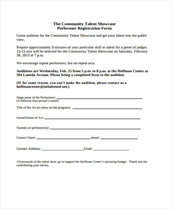 Talent Show Registration Form Samples  Free Sample Example