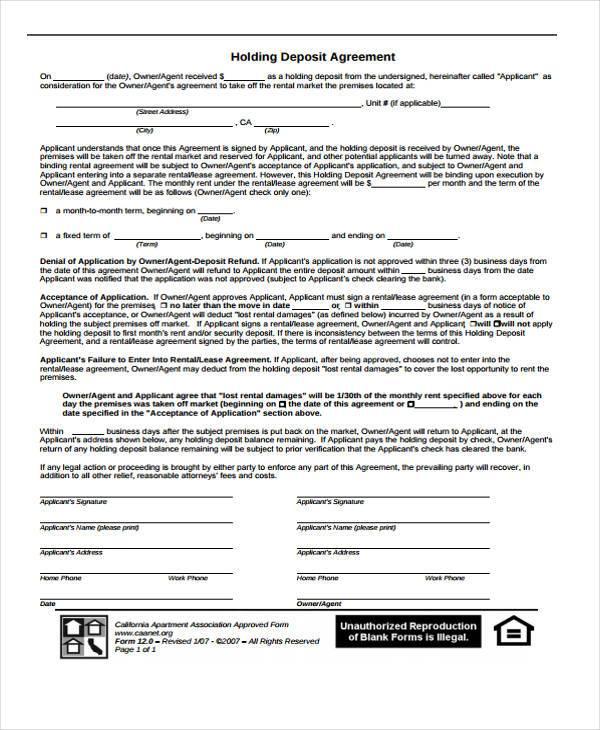 company holding deposit agreement form