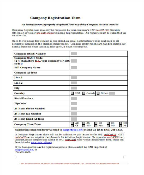 company registration form in doc