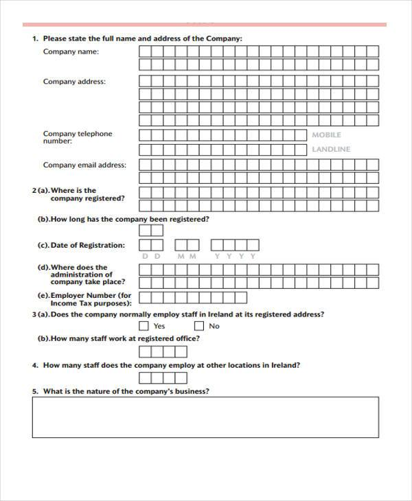 company registration form in pdf
