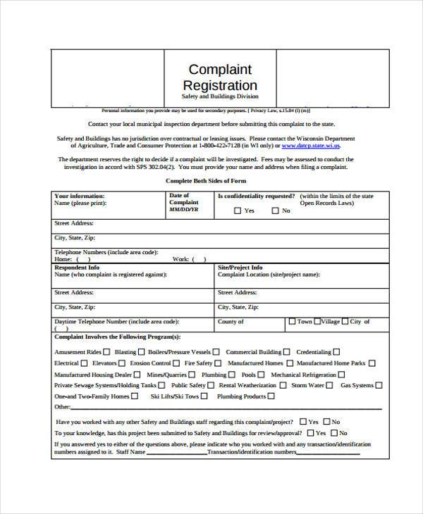 Complaint Register Form Sample  Customer Registration Form Sample