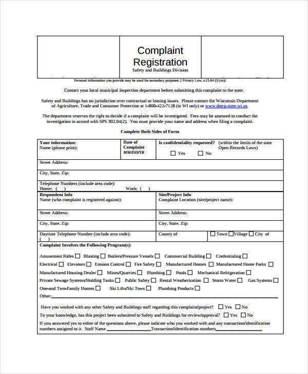 7+ Complaint Register Form Samples - Free Sample, Example Format ...