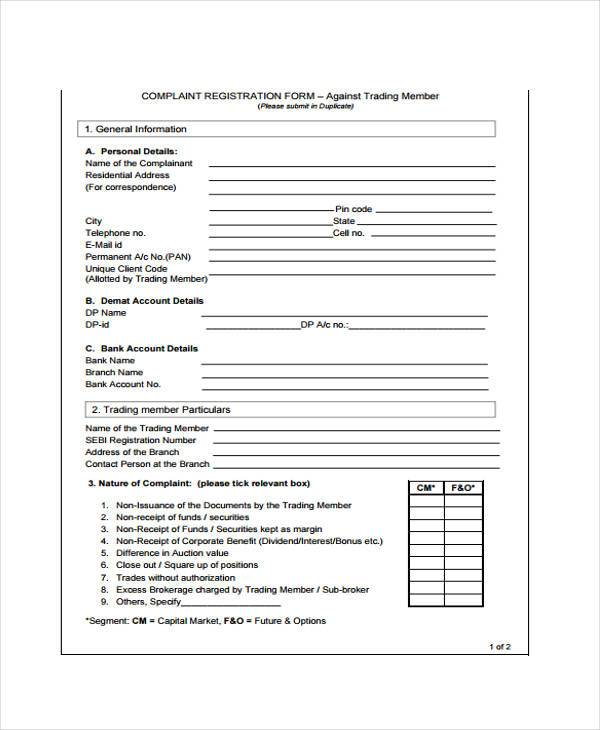complaint register form in pdf