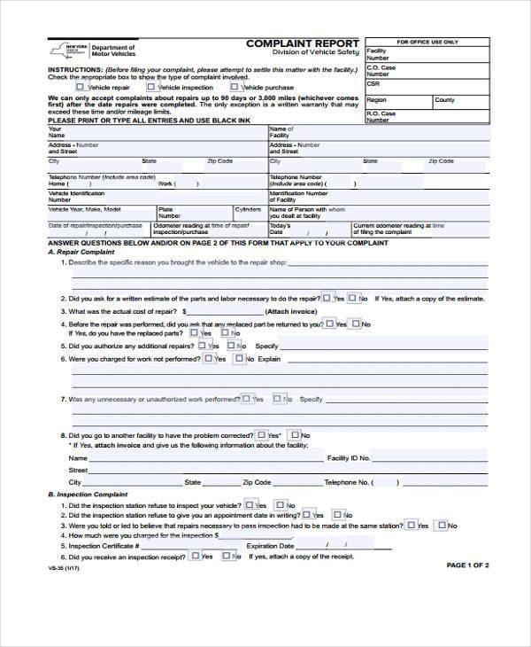 complaint report form