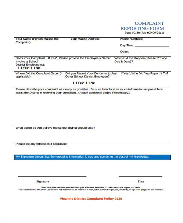 complaint reporting form examples