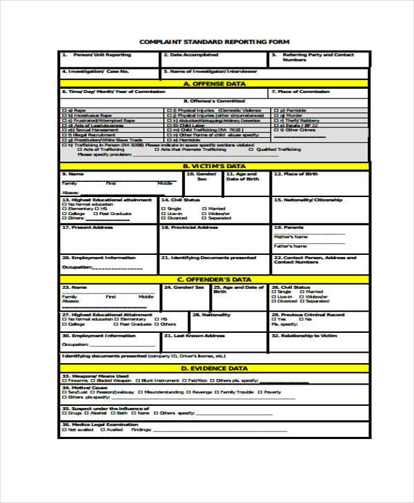 complaint standard reporting form