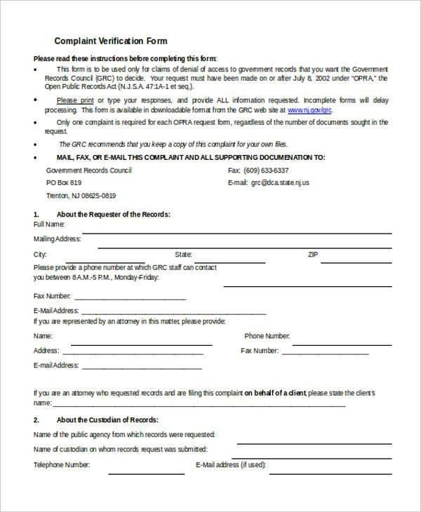complaint verification form in doc