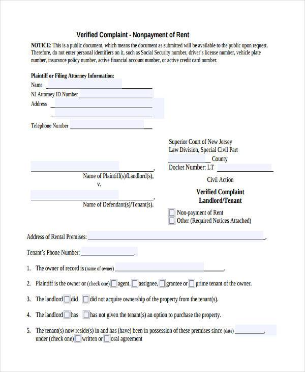 Complaint Verification Form Samples  Free Sample Example Format