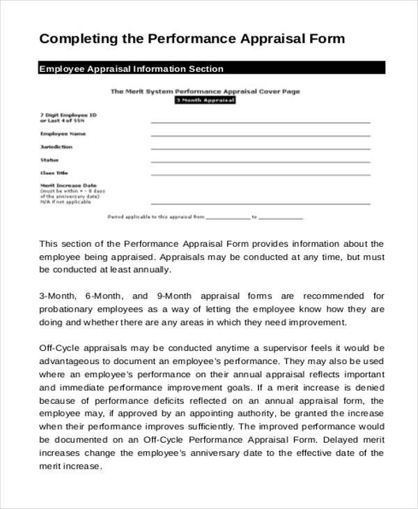 21 Appraisal Form Examples Free Sample Example Format Download – Performance Appraisal Form Format
