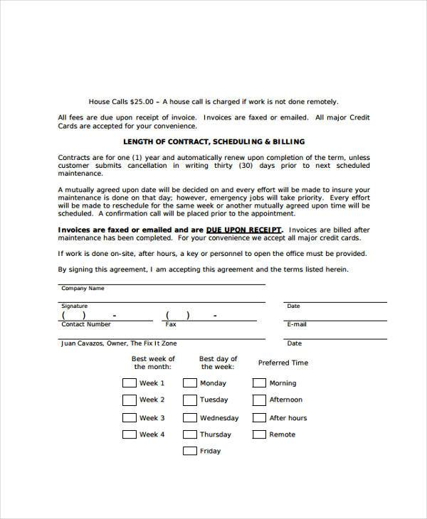 Sample maintenance contract forms 8 free documents in for Computer repair service agreement template
