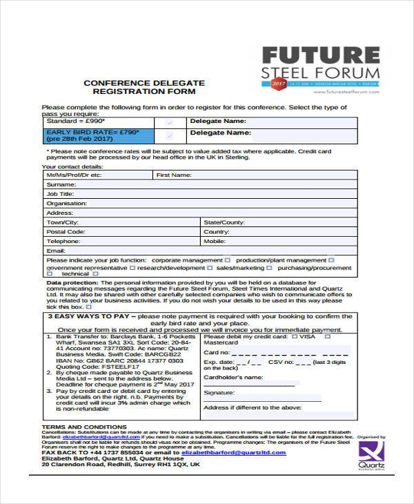 conference delegate registration form