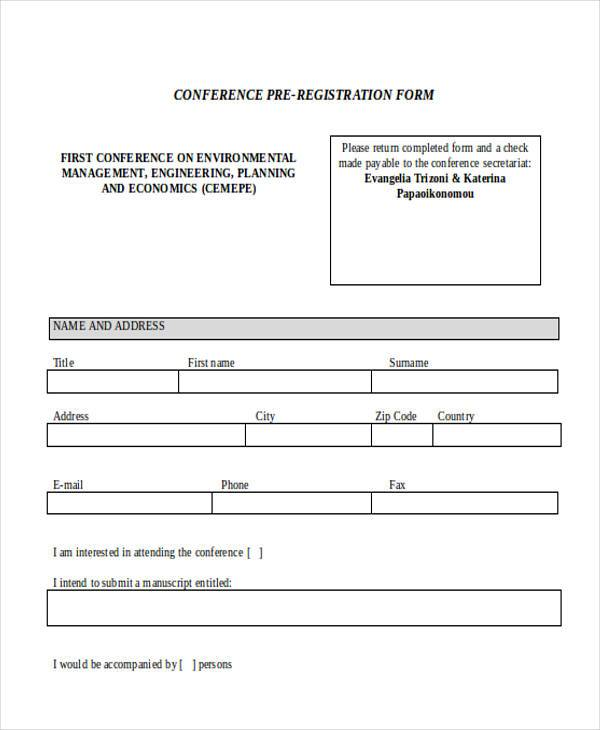 conference pre registration form3