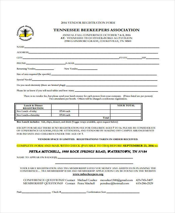 conference vendor registration form1