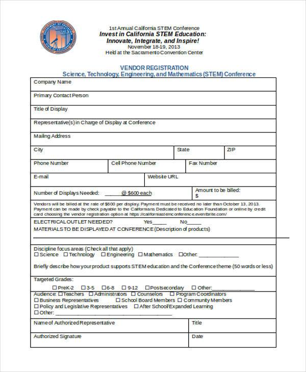 conference vendor registration form2