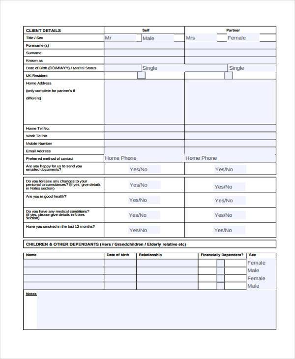 confidential financial review form