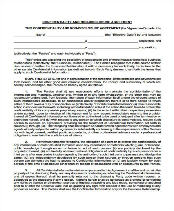 confidentiality and non disclosure agreement form