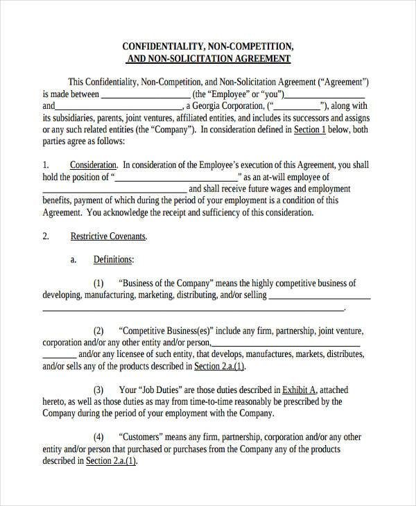 confidentiality non compete agreement form