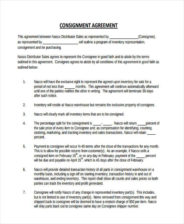 Consignment Agreement Pdf  Consignment Inventory Agreement Template