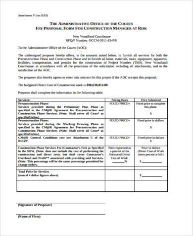 construction all risks proposal form