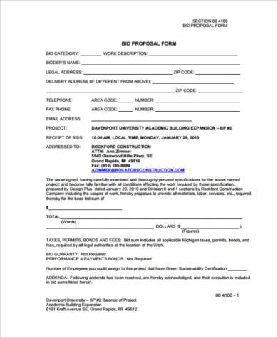 construction bid proposal form