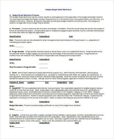 construction budget form in doc