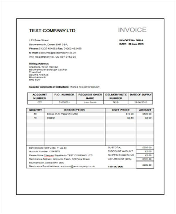 Sample Construction Invoice Forms   Free Documents In Word Pdf