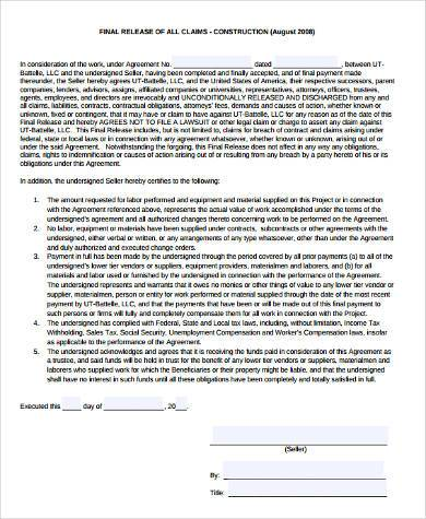 construction claim release form