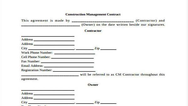 sample contracts for contractors