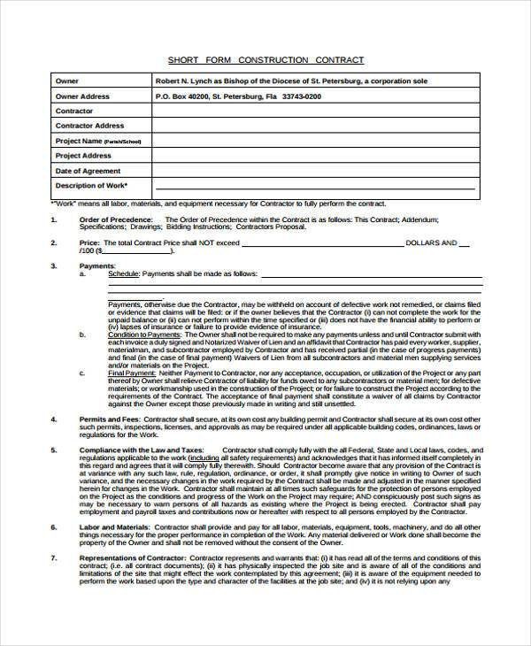 8+ Construction Contract Form Samples - Free Sample, Example ...