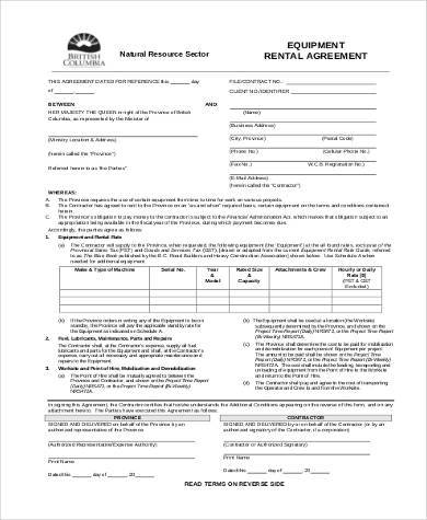 construction equipment rental agreement form