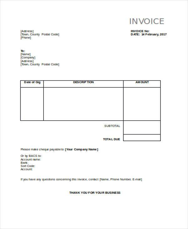 construction invoice example