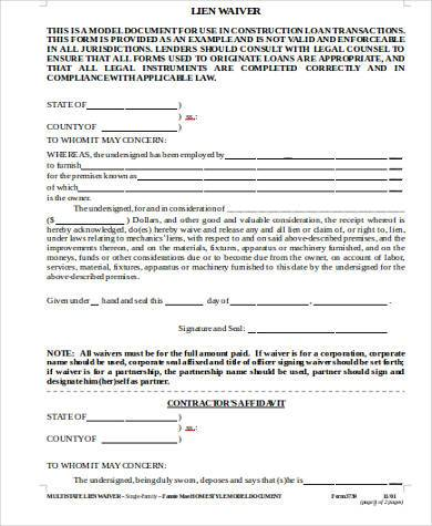 Sample Construction Lien Waiver Forms   Free Documents In Word Pdf
