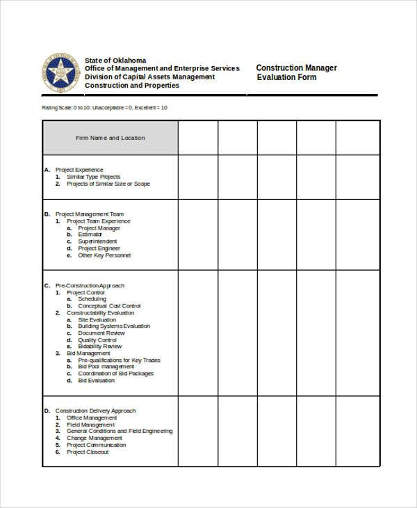 construction manager evaluation form