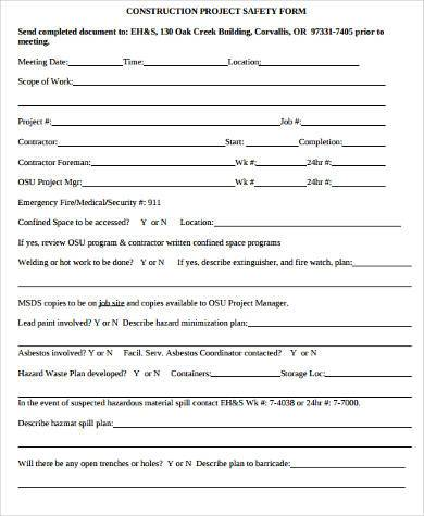 construction project safety form