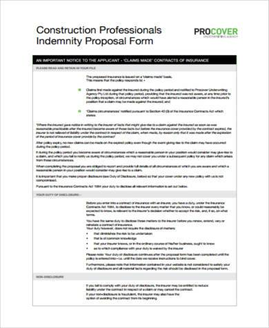 construction proposal form pdf
