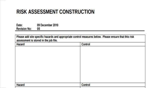 7 Construction Risk Essment Form Samples