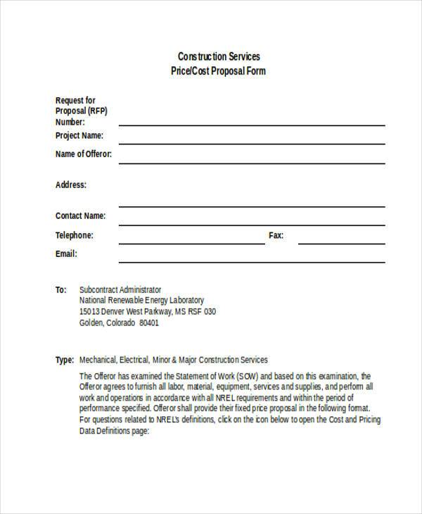 construction service proposal form