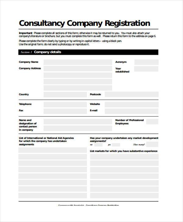 consultancy company registration form