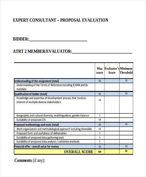 consultant proposal evaluation form