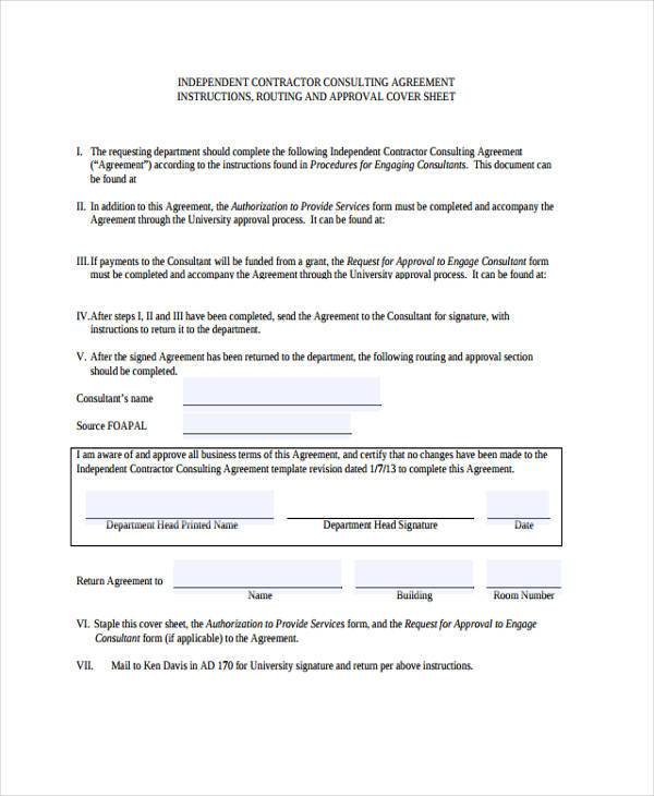 Consulting agreement form samples 7 free sample for Consulting contracts templates