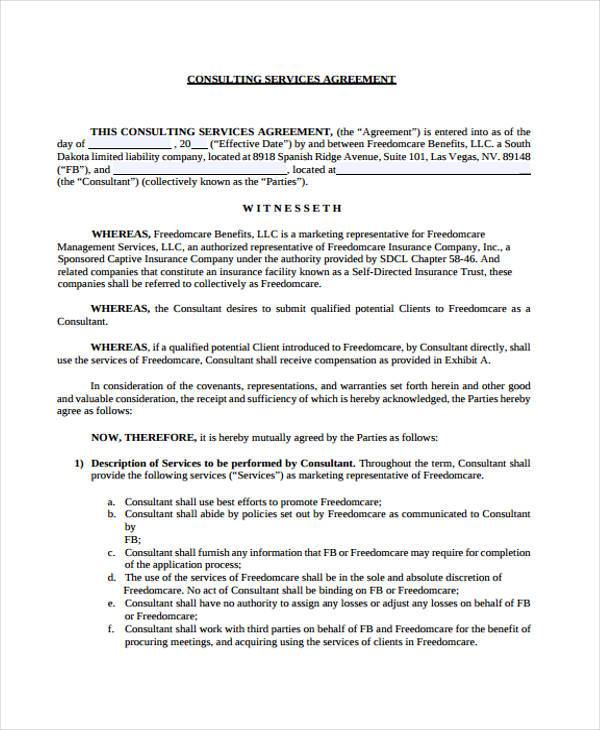 Consulting Agreement Form Samples 7 Free Sample Example Format – Consulting Service Agreement