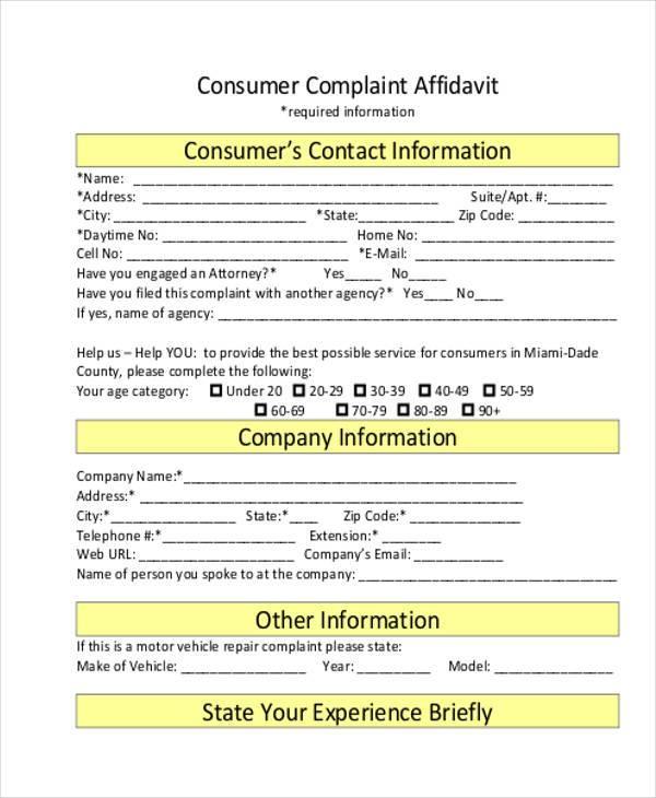 Free 7 Sample Complaint Affidavit Forms In Pdf Ms Word