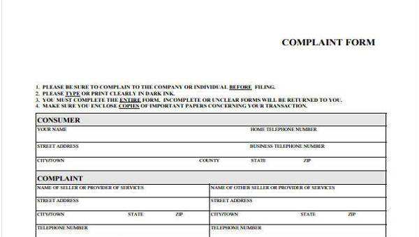 Free 7 Consumer Complaint Forms In Pdf Ms Word