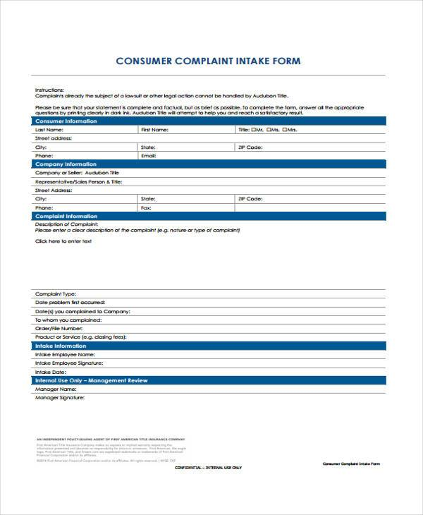 consumer complaint intake form