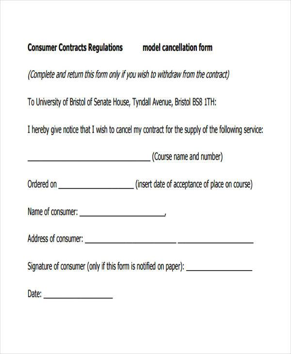 consumer contract cancellation form