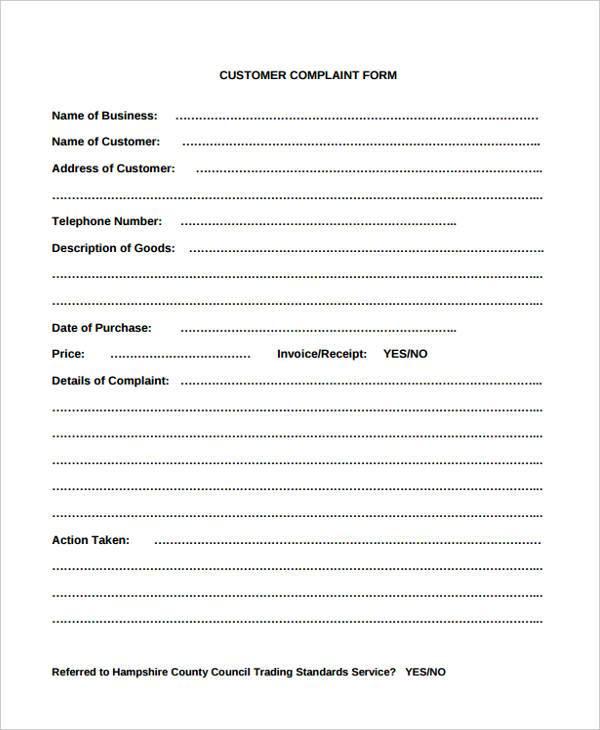 consumer guest complaint form