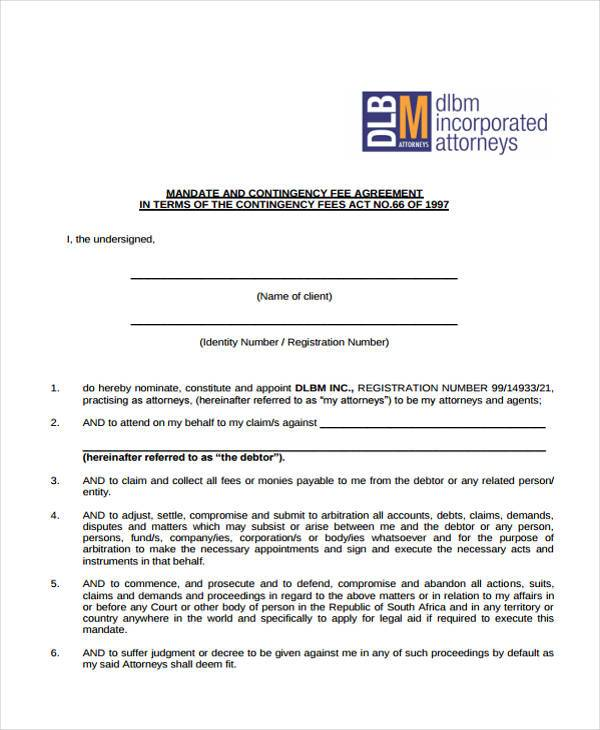 contingency written fee agreement form